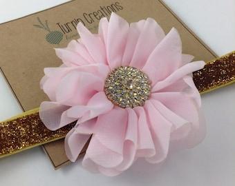 Pink & Gold Headband Ballerina Flower Headband Glitter Wedding Flower Girl Headband Pretty in Pink M2M Persnickety
