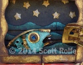 Fish art whimsical fantasy print wood art for children fairytale story water doll night time ocean scene art with water whimsy imagination