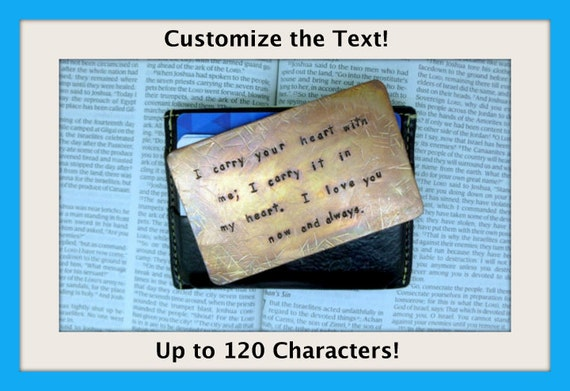Hand Stamped Textured and Antiqued Copper Wallet Insert - Personalized - Custom  -