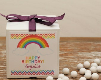 12 - Personalized Rainbow Party Favor Boxes - Rainbow Label Design, Rainbow Favor, Kids Party, Rainbow Favor Box