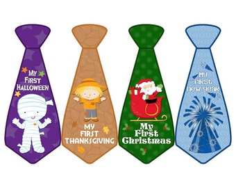 Baby's First Holiday Stickers, My First Christmas, My First Thanksgiving, My First Halloween, and More, Monthly Boy Tie Stickers (BFH01)
