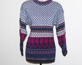 Vintage Sweater Retro Geometric Over Roses