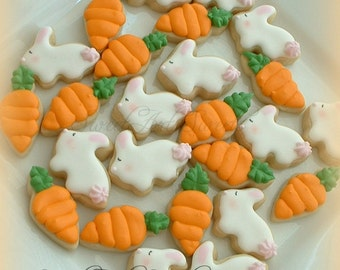 Easter cookies - 2, 3, or 4 dozen MINI bunny and carrot cookies