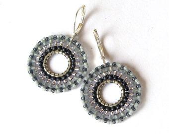 Beadwork Grey Hoop Earrings, Seed Bead Round Earrings, Beaded Bead Earrings, grey earrings