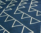 "Geometric Uphosltery fabric- Cotton Twill- Fabric by the yard - ""Dancing Triangles"" Ink Blue"