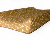 Changing pad cover BRONZE TRIANGLE for contoured pad- bronze change mat cover- gender neutral bedding- bronze changing