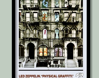 Led Zeppelin Poster. Physical Graffiti promo. Large Zeppelin wall art . Vintage rock poster. Rock promo poster. Classic album art.