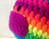 Chunky Monkey Soft Non Pil Acrylic Earflap Hat With Braids Rainbow Neon Bright Eye Catching Vibrant Colours for Chidlren Preschooler