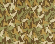 Ducky Dynasty Green Fabric - Green, Tan, Brown, gold - Cotton