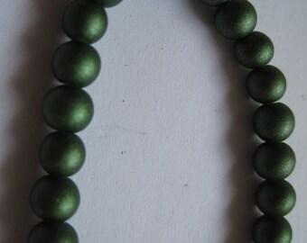 54-Matte Green Round Beads