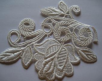1Q-Ivory Lace Flower Applique