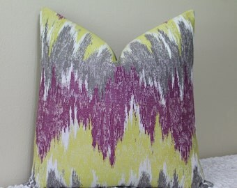"NEW Ikat Print in Magenta, Yellow, Grey and White - 18"", 20"", 22"" or 24"" Square -  Decorative Pillow Cover"
