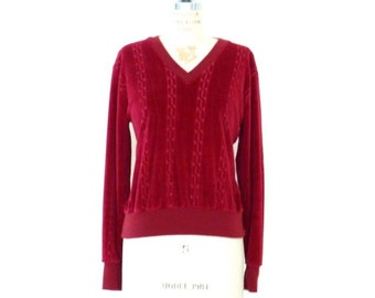 Cranberry Red Velveteen Top // Maroon Velvet V-Neck Shirt // Red Blouse // Retro Hipster Top - S/M