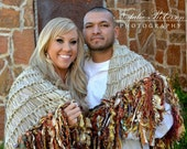 Throw Afghan Blanket, Engagement or Wedding Portrait Photo Prop Fringe Poncho for Two, later Home Decor in Warm Terra Cotta Latin Colors