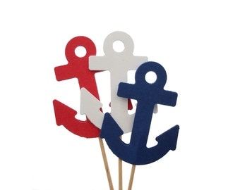 12 Nautical Navy Blue White Red Anchor Cupcake Toppers, Party Picks, Toothpicks, Food Picks - No716