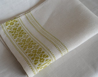 Vintage Danish hand woven small table cloth / placemat / ligth green decorated