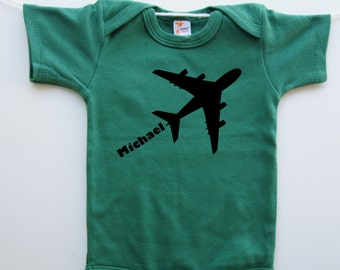 Personalized Airplane Onesie- Green Bodysuit