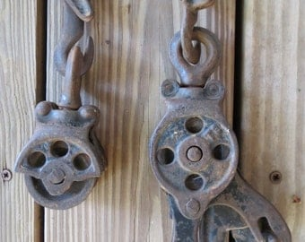 Vintage Block And Tackle Pulleys.