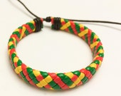 Bob Marley flat braided cord leather bracelet