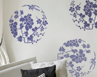 Stencil for Walls - Floral stencil in the Round with Bird - Large, Reusable stencil for DIY home decor