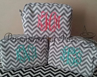 Grey and White Chevron *Monogrammed* Makeup Bag  (Set of 6 Bridesmaid Gifts)
