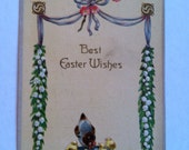 Vintage 1908 Best Easter Wishes with hem and chicks postcard