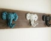 Elephant decor, kids room decor,baby shower gift, nursery decor, kids coat rack, kids hooks, kid bedroom wall, african animals, safari decor