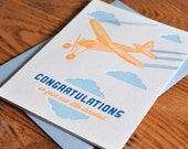 Airplane Daredevil Blue New Baby Card