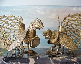 Vintage Brass Fighting Cocks Rooster Fighting Chicken Fight Brass Birds Home Decor Man Cave Pool Room Vintage 1950s