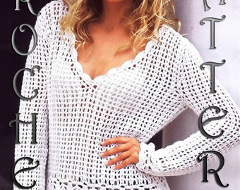 Woman summer cardigan cover up Crochet  Pattern only, PDF Files