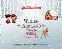 SALE   Christmas Etsy Set - Winter Fairyland - Premade Etsy Holiday / Winter Banner set