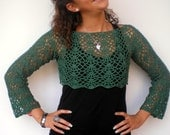 Green Short Bolero  Sweater Trendy Lace   Cotton Hand Crocheted  Woman Sweater NEW