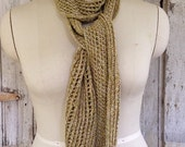Open Knit Drapey Acrylic/Cotton Scarf in LemonLime Green