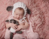 newborn baby crochet lamb bonnet and stuffy set, stuffed animal, photo prop, available in other colors and sizes