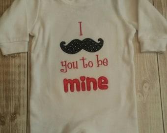 Newborn or Infant Baby Boy Sleeper with Mustache Design for Valentine's Day