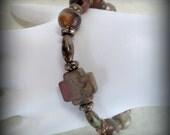 Antique green gemstone rosary bracelet