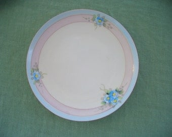 Vintage Plate Meito Made in Japan Blue and Pink Rings with Forget Me Nots