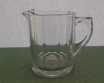 Vintage Heavy Glass Paneled Pitcher