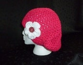 Slouchy Lacy Crochet Beanie with Flower / Slouchy Beanie / Slouch Hat - Hot Pink with White Flower