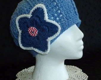 Crochet Beanie, Beanie with Flower, Crochet Womens Hat, - Denim Blue with Attached Flower