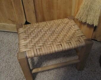 Handwoven Foot Stool, Rattan Reed Foot Stool, Twill Weave, Handmade Foot stool, Primitive Decor, Country decor