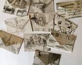 Vintage handmade Collage Envelopes and Vintage Dennison labels - Set of 5 - Scrapbooking - Vintage Paper Pack - Craft pack