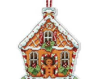 Cross Stitch Kit - GINGERBREAD HOUSE ORNAMENT - Dimensions Gingerbread House Christmas Ornament Counted Cross Stitch Kit Dimensions Kit