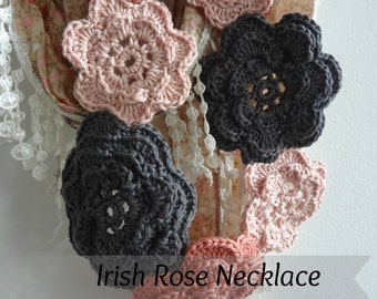 CROCHET PATTERN Irish Roses Necklace - crochet flower pattern,crochet necklace,flower necklace, crochet bohemian necklaces, instant download
