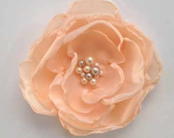 Peach Bridal Fabric Flower Hair Pin, Clip or Corsage