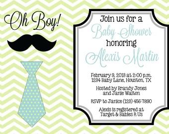 LITTLE MAN Baby Shower 5x7 Invitation - Boy DIY Printable