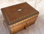 french antique wooden travel case, writing slope, napoleon lll, walnut, pewter, mother of pearl,  ebony,  jewellery box,  collectibles