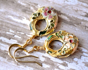 Gold Cloisonné Oval Hoops . Flowers and Leaves . Earrings