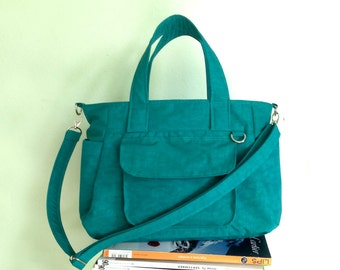 CHRISTMAS SALE - Teal Water-resistant Nylon Bag with 3 Compartments & 4 Exterior Pockets / Handbag / Messenger Bag / Tote Purse - Mini Nuch