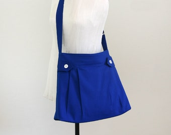 Christmas SALE - Blue Messenger bag with Buttons, Purse, Canvas bag, Travel bag, Hobo bag, Zipper Closure, Adjustable strap, Women - Tyler